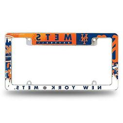 New York Mets Chrome License Plate Frame All Over Tag Cover