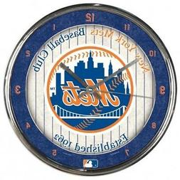 New York Mets Chrome Round Wall Clock  MLB Sign Banner Offic