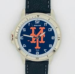 NEW YORK METS CLASSIC MEN'S SPORT WATCH LEATHER BAND OFFICIA