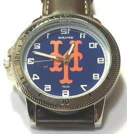 New York Mets Sparo Classic Men's Sports Watch with Brown Le