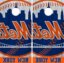 New York Mets Cornhole Wrap MLB Vintage Game Board Skin Set