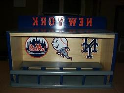 New York Mets bobble heads display case with Mr. Mets logo