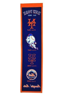 "NEW YORK METS EMBROIDERED WOOL HERITAGE BANNER 8""X32"" MLB LI"