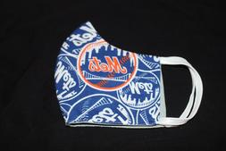 NEW YORK METS  FACE MASK  2 LAYER OF SOLID COLOR FABRIC