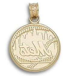 New York Mets Full Logo 10 kt Gold Pendant