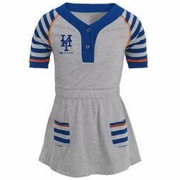 MLB New York Mets Girls' Striped Gray Infant/Toddler Dress 1