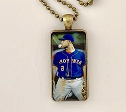 New York Mets Glass Pendant Necklace--David Wright--Free Shi