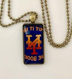 "New York Mets Glass Pendant Necklace--""Put It In The Books""-"