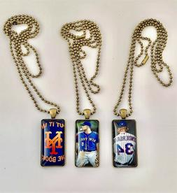 New York Mets Glass Pendant Necklace--Three Different--Free