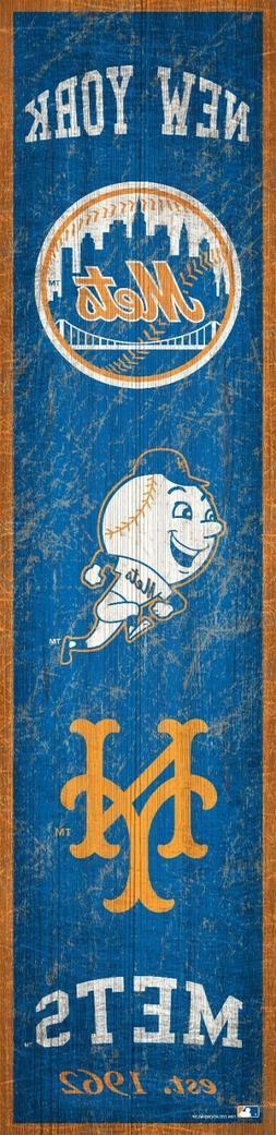 "New York Mets Heritage Banner Retro Logo Wood Sign 6"" x 24"""