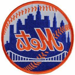 New York Mets Home Round Sleeve Patch Jersey Orange Border L