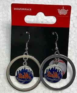 New York Mets Hoop  Logo J Hook Dangle Earrings NEW