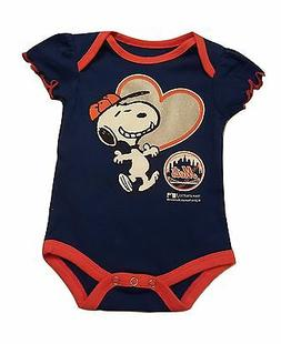 New York Mets Infant Girls Creeper Snoopy Peanuts Baby Rompe