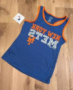 New York Mets Large 10-12 Baseball Tanktop Youth Girl Blue O