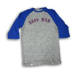 "New York Mets Majestic Men's 3/4's Sleeve Blue/Gray ""Strawbe"