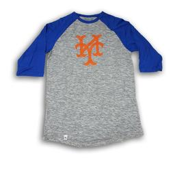 New York Mets Majestic Men's 3/4's Sleeve Blue/ Heather Gray