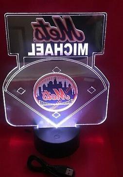 New York Mets MLB Baseball Mirror Stadium Light Up Lamp LED