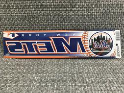 "NEW YORK METS MLB BUMPER STICKER 3"" x 12"" WINCRAFT BASEBALL"
