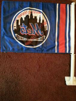 NEW YORK METS MLB CAR FLAGS 12 X 18 HI-WAY STRONG TOP QUALIT