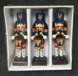 New York Mets MLB Christmas Wooden Nutcracker Ornaments 3 Pc