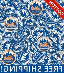 """New York Mets MLB Cotton Fabric - 58"""" Wide - Style# 6666 - F"""
