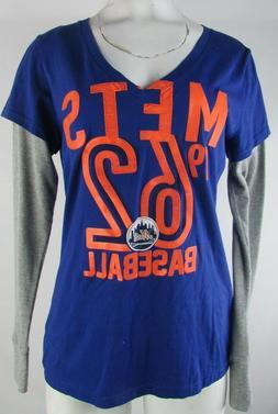 New York Mets MLB G-III 4her Women's V-Neck Long Sleeve Shir