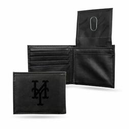 New York Mets MLB Laser Engraved Black Billfold Wallet
