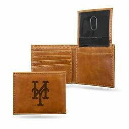 New York NY Mets MLB Laser Engraved Brown Billfold Wallet