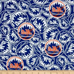 New York Mets MLB Logo and Name Design Cotton Fabric-$8.99/y