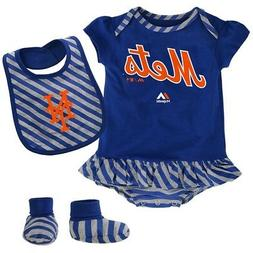 """New York Mets MLB Majestic Newborn Blue """"Pennant"""" Creeper, B"""