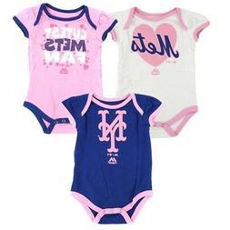 """New York Mets MLB Majestic Newborn """"Lil' Fanatic"""" 3 Piece Pl"""