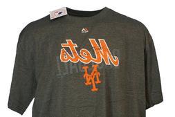 New York Mets MLB Majestic Weathered Logo Grey T-Shirt, Men'