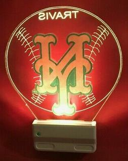 New York Mets NY MLB Night Light Personalized LED Plug In, D