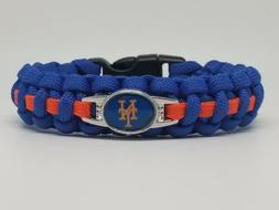New York Mets Paracord Bracelet Blue/Orange 8.0 inch wrist