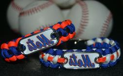 New York Mets Paracord Bracelet w/ MLB Dog Tag and Metal Buc