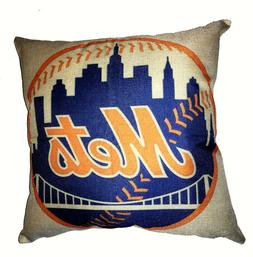 "New York Mets Pillow Cushion Cover 17"" x 17"" Pillow Decor Ba"
