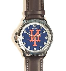 New York Mets Premium Classic Logo Mens Watch Brown Leather