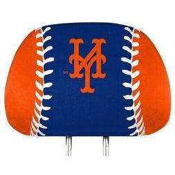 New York Mets PRINTED Full Color 2-pack Head Rest Covers Ela