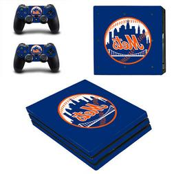 New York Mets PS4 Pro Skin Sticker Decal Vinyl Console+2 con