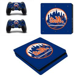 New York Mets PS4 Slim Skin Sticker Decal Vinyl Console+2 co