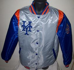 NEW YORK METS REVERSIBLE Satin Jacket M L XL 2X BLUE & SILVE