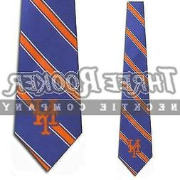 New York Mets Striped Mens Neck Tie with MLB Baseball Sports