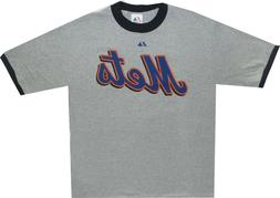 New York Mets Majestic Throwback Ringer Gray T Shirt NEW