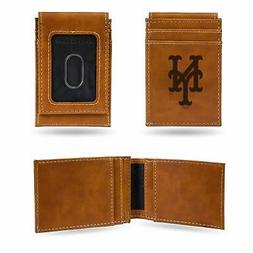 New York Mets Wallet Laser Engraved Minimal Front Pocket Fit