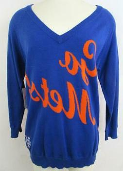 New York Mets Womens Medium Touch V-neck Knit Sweater NYM 18