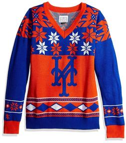 New York Mets Womens Ugly V-Neck Christmas Sweater
