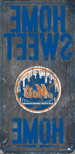 """New York NY Mets Home Sweet Home Wood Sign - NEW 6"""" x 12"""" Wa"""