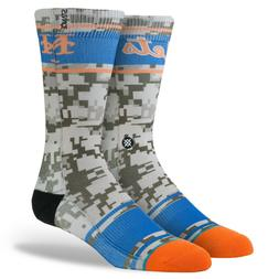 NWT STANCE New York Mets Camo Crew Socks Men's Size Large 9-