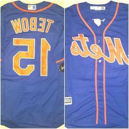NWT New York Mets Tim Tebow #15 Blue Replica Mens MEDIUM Bas