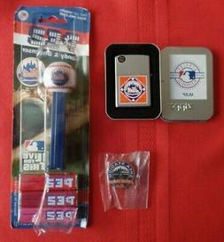 NY METS Lot NIP PEZ Dispenser ZIPPO Lighter Shea Stadium 196